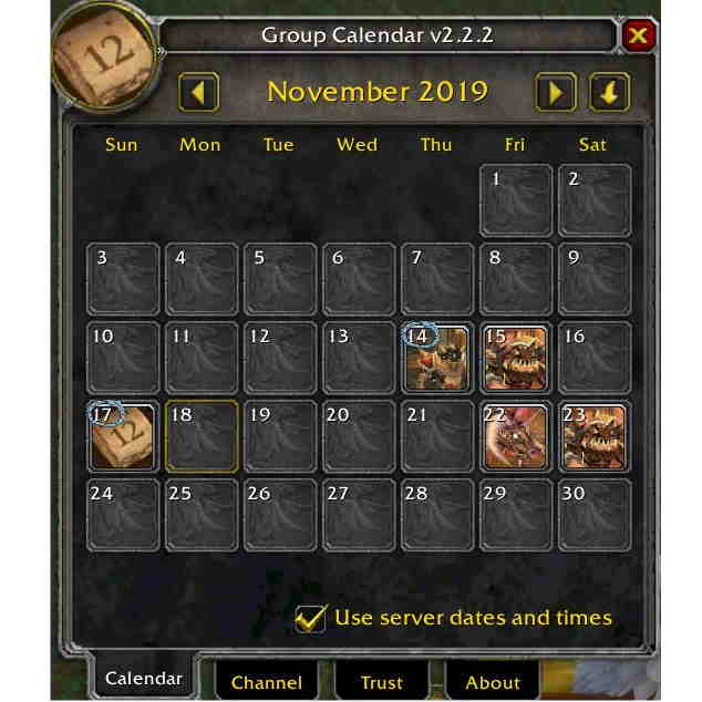 Group - Guild Calendar for Classic
