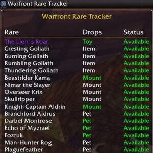 Warfront Rare Tracker: аддон для отслеживания редких мобов